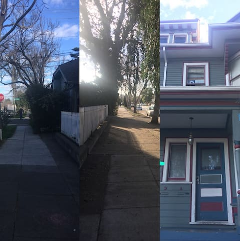 Facing front of our house, 1st pic shows what you see towards your left, middle pic shows what you see towards your right. The third picture shows where you will be staying. We are on the second floor.