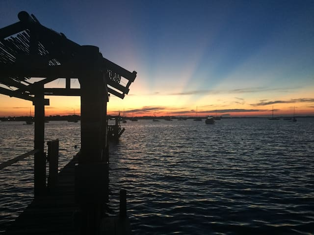 Sunrise view at our dock