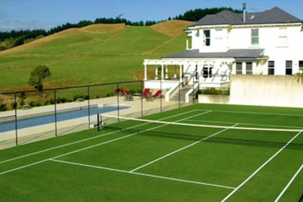 Tennis court - racquets & balls supplied.