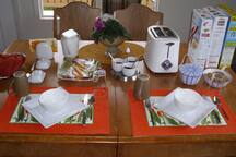 A typical Continental Breakfast table setting