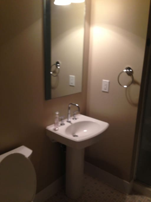 Guest Bath: Full. Shower. Pedestal sink. Toilet.