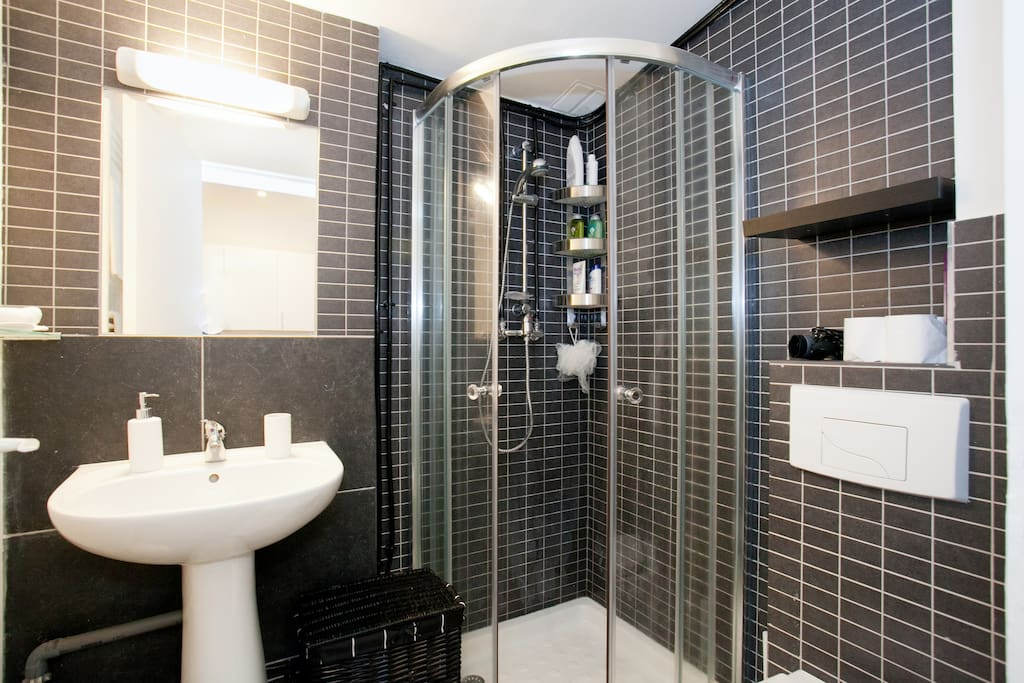 Bathroom with enclosed shower and towel hang dryer