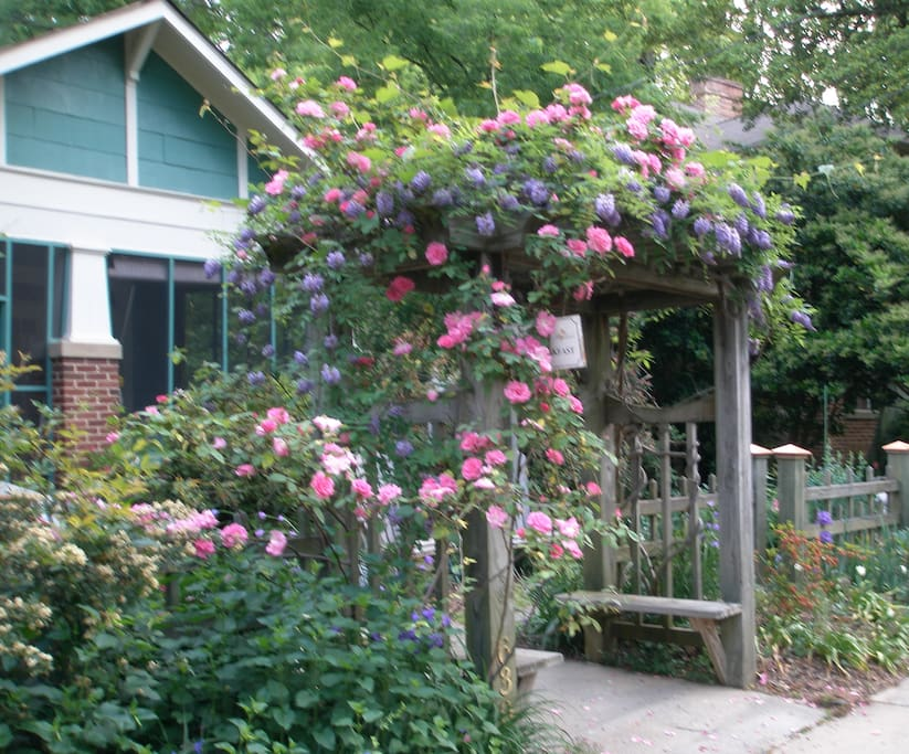 Virginia Highland 1919 Craftsman Bungalow, springtime arbor.