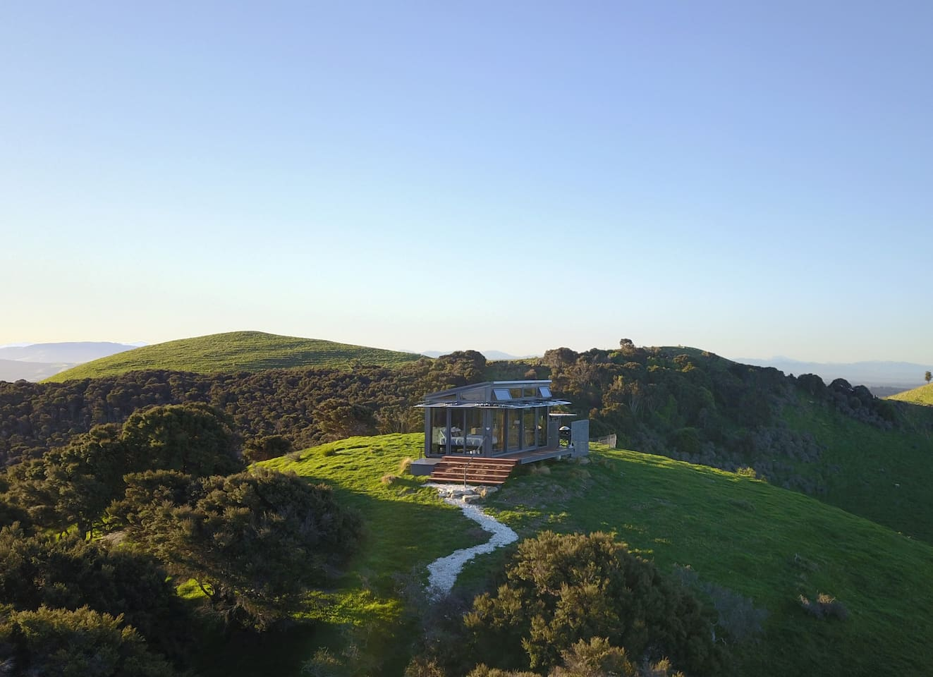 Surrounded by rolling hills, and with fabulous views straight out to the Pacific Ocean