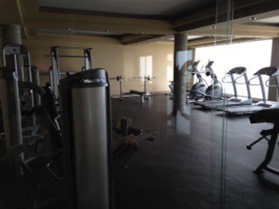 Weight room with ocean view