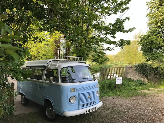 Bluebell VW campervan in the Cotswolds