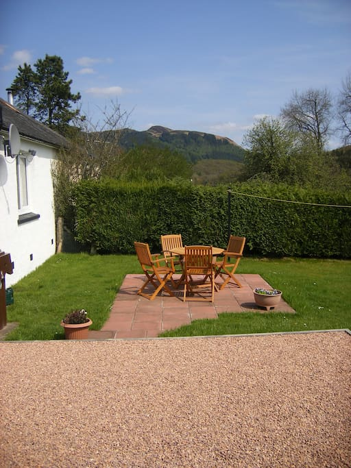 Seating area in the back garden
