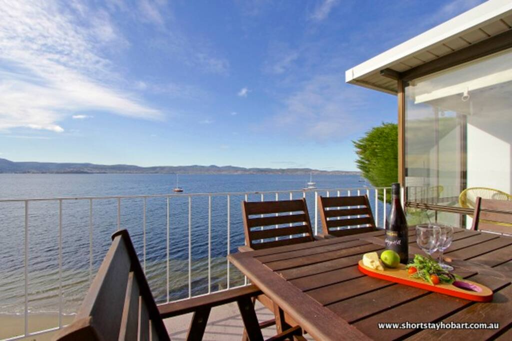 Private balcony with beautiful water views.