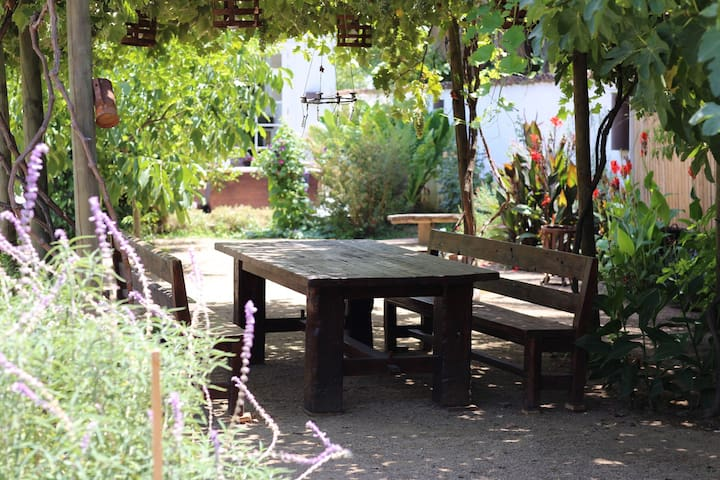 One of the few dining areas on the property.