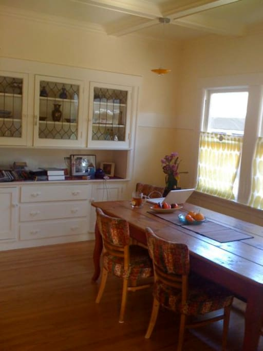 dining room, with farm table