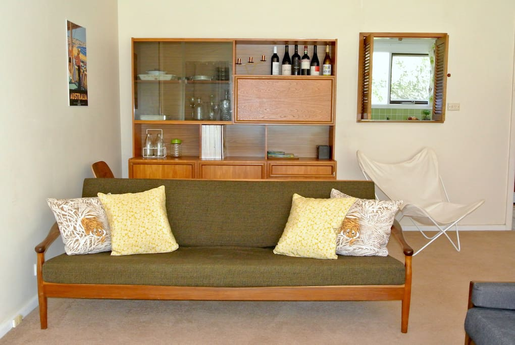 Fold down single sofa bed in living room