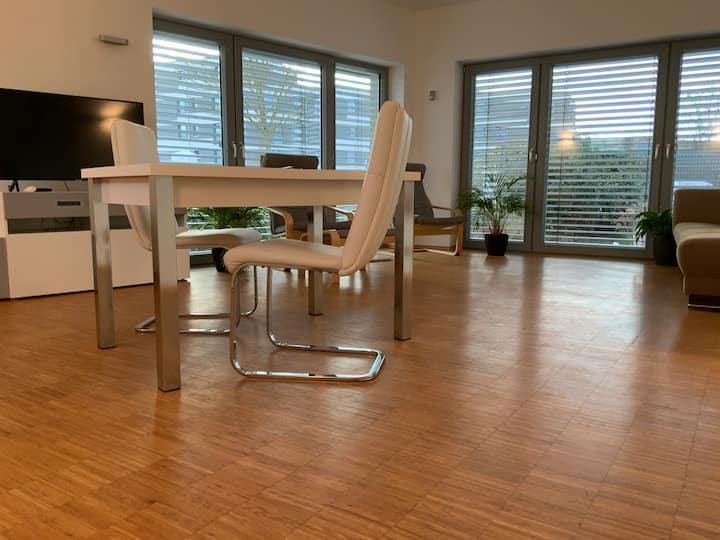 Bright loft in low-energy house in Erlangen.
