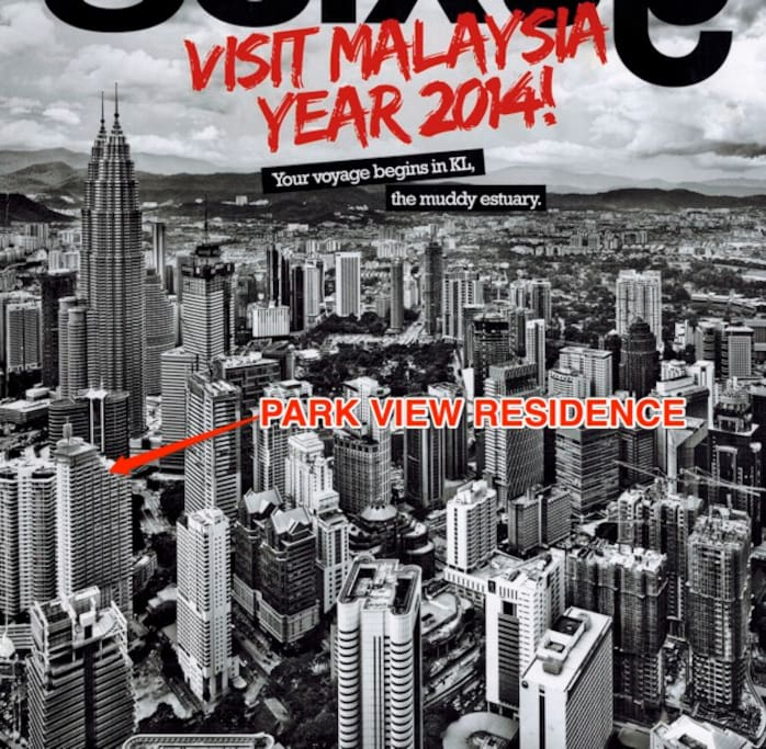 This excerpt of an inflight magazine shows very well how close is the building from the twin tower. The pic was shot from the KL tower.