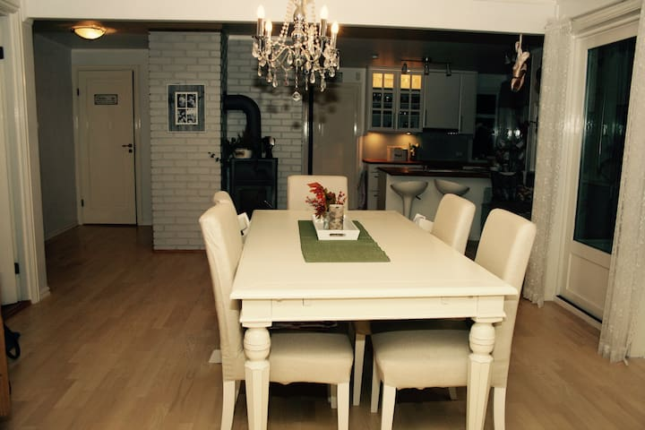 Kitchen. Dinner table (can be expanded)