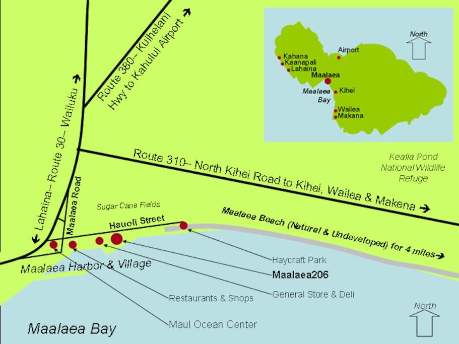 Local Map of Condo, Maalaea Harbor & Village and Haycraft Park