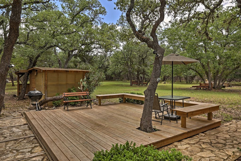 Located on 2.7 acres of land, this home offers lots of privacy and beautiful, mature oak trees.