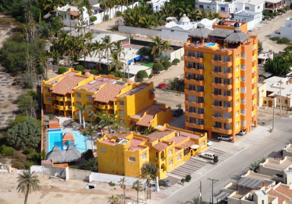 Aerial picture of Villas La Posada Complex - located in a lovely neighborhood just 1/2 block from the water