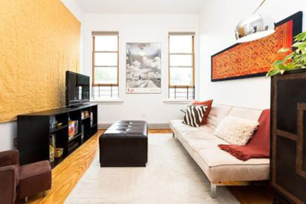 Modern and spacious, the apartment has tons of light and room to spread out.