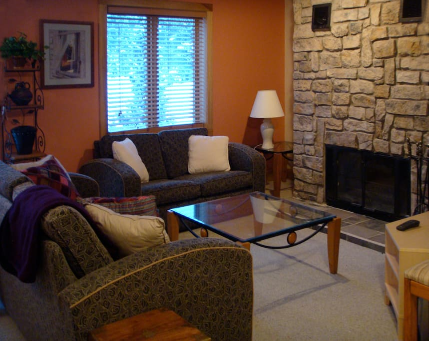 Cozy living room with real fireplace