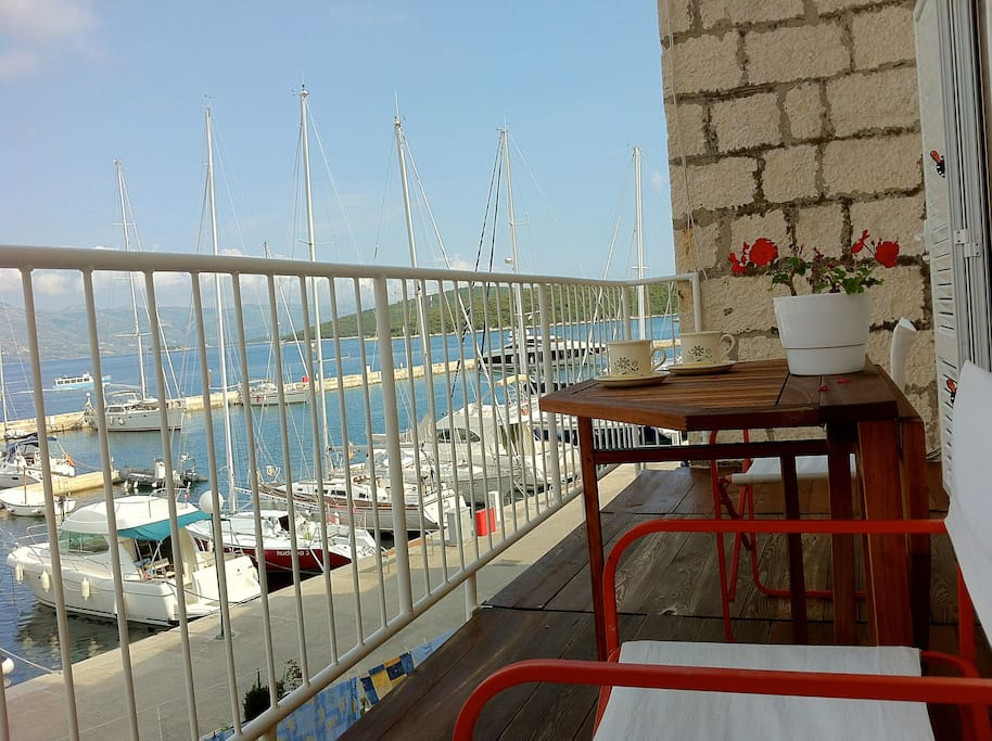 Sea and yacht marina view