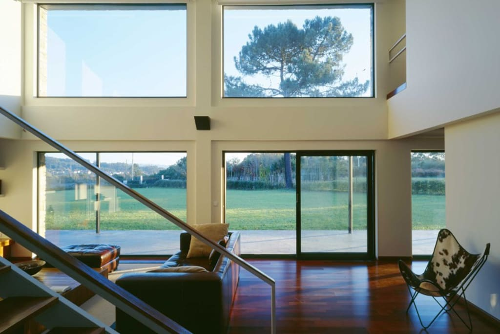 Open living room with big windows