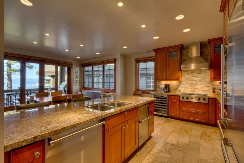 The gourmet kitchen is fitted entirely with professional grade Viking appliances