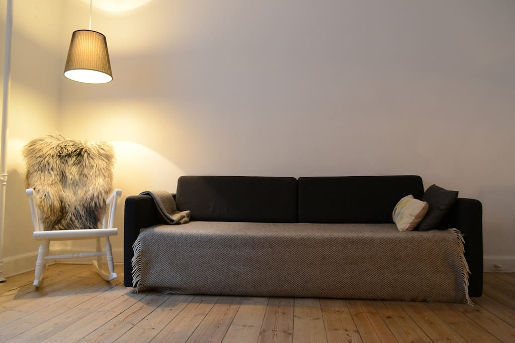 The sofa in the combined kitchen and living room can be made into a double bed.