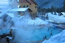 View of the heated pool and hot tubs from the condo