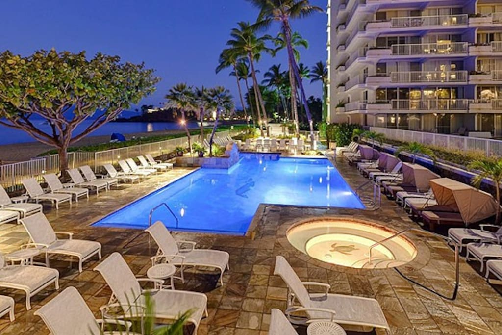 Heated pool with jacuzzi, beach rentals.