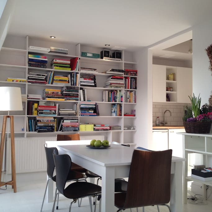Kitchen/dining area full of light during the day