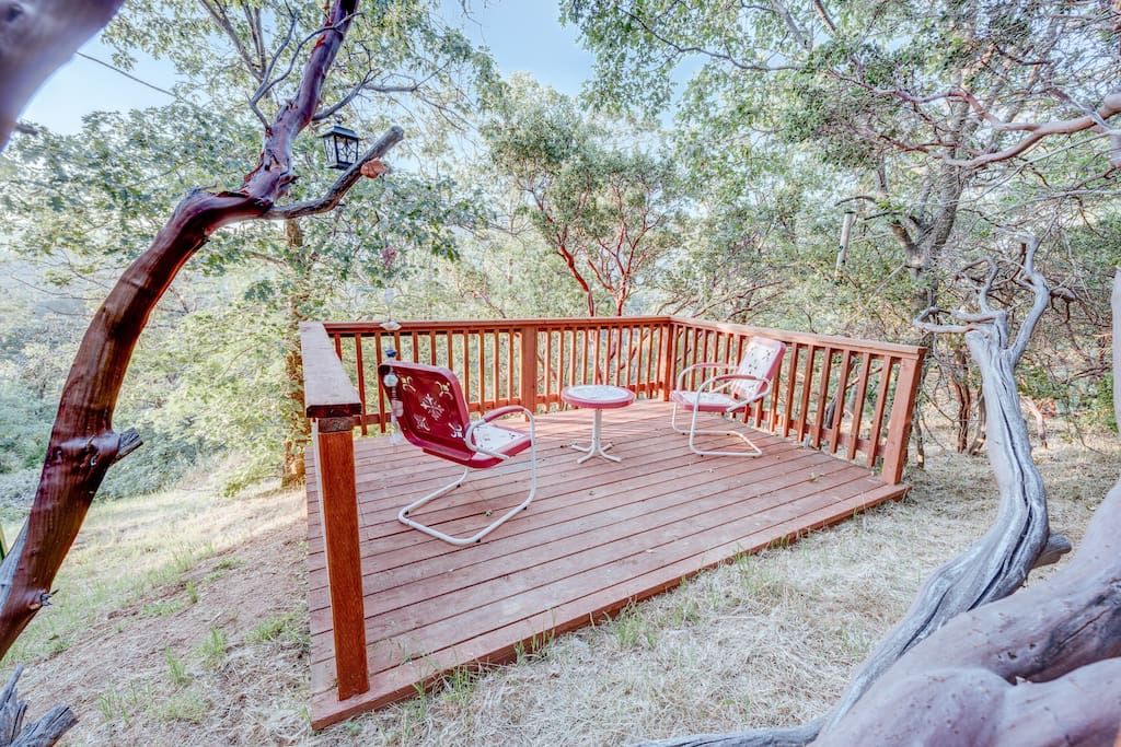 Myriad wild birds visit The Enchanted Lookout.  This is our favorite bird-watching deck.