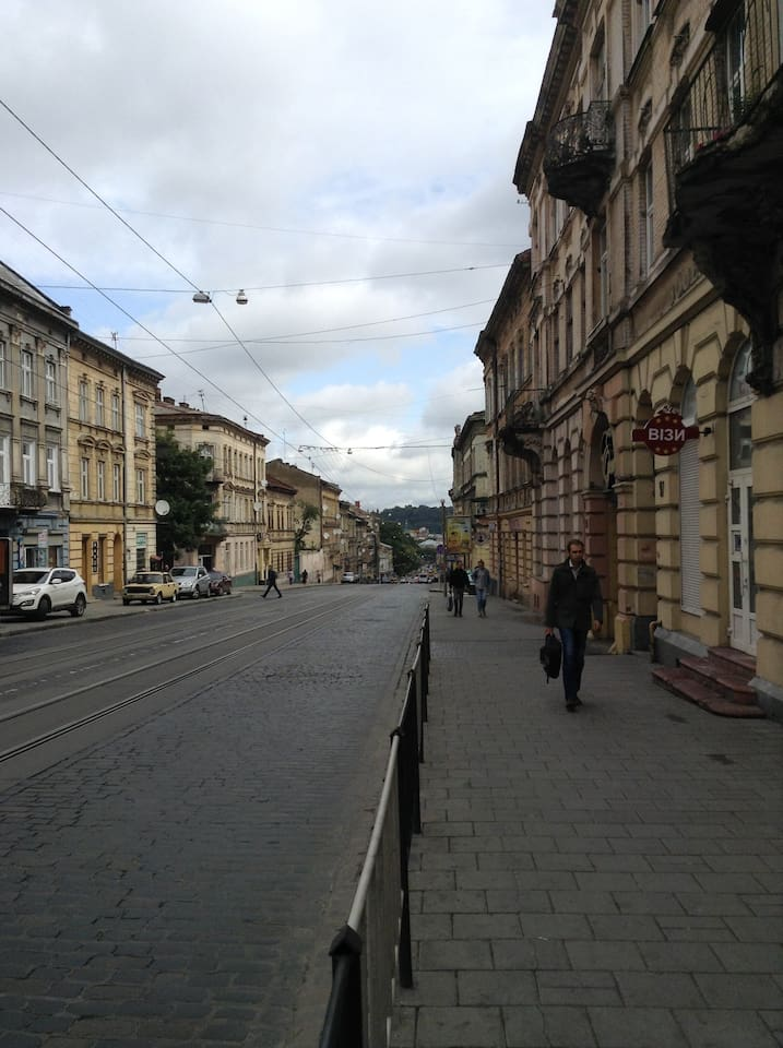 View on the street – Lviv centre is downhill only 15-min walk away