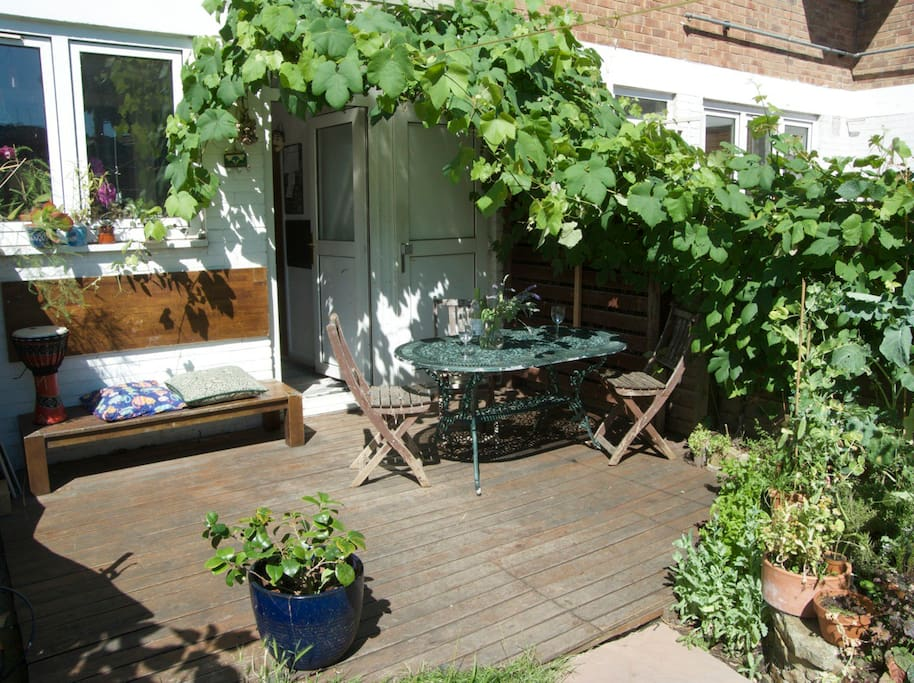 Al fresco dining in the back garden, under the grapes