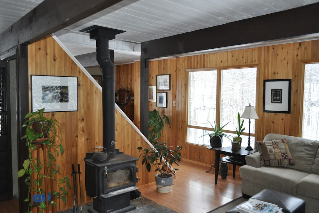 Cozy living room with wood stove.