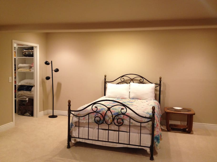 spacious bedroom in our finished basement