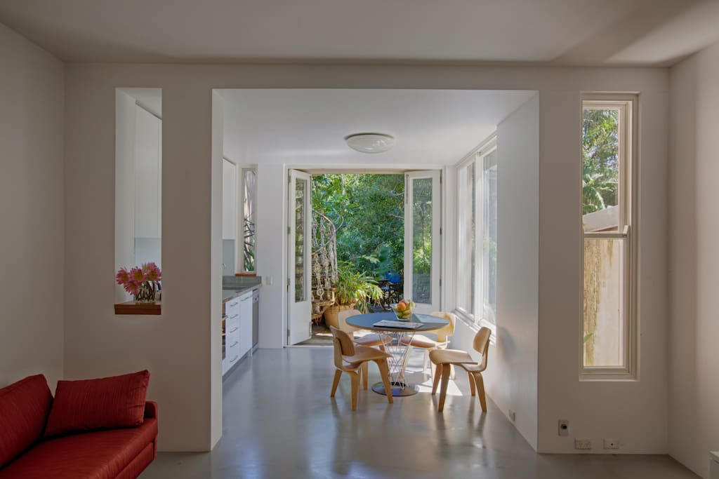 The interior is completely modern and has a private garden terrace