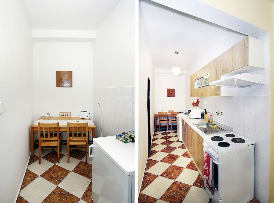 The kitchen is long. It was recently remodeled, containing everything you might need for a short stay in Prague