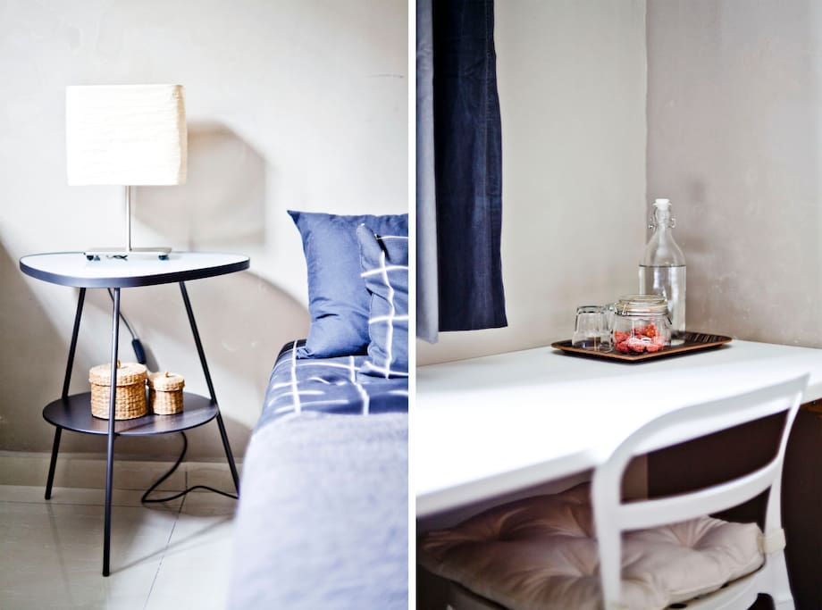 You have a comfortable desk for laptop work & quietness in the room
