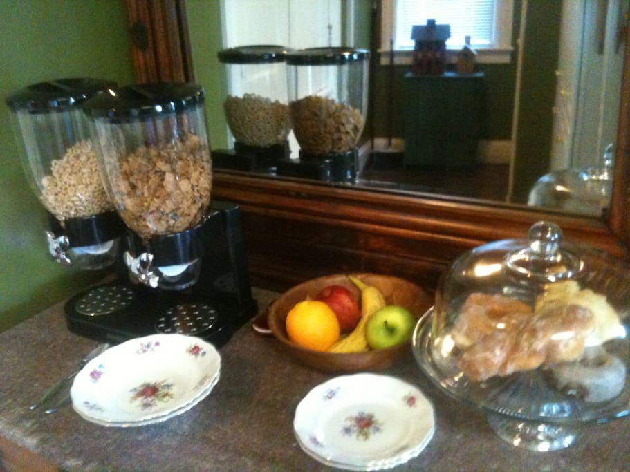 Breakfast bar with hot homemade item, cereal choices, baked goods, fruit, juice, coffee, tea, milk, etc., daily. 7:30 to 10.