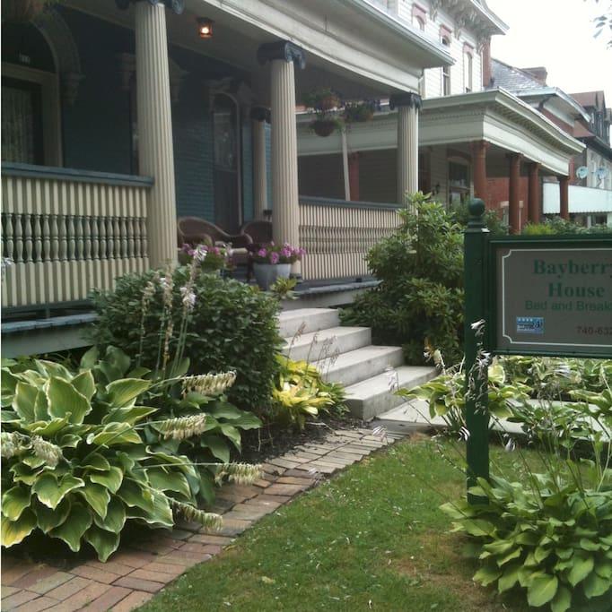 Westfall House porch and garden summer