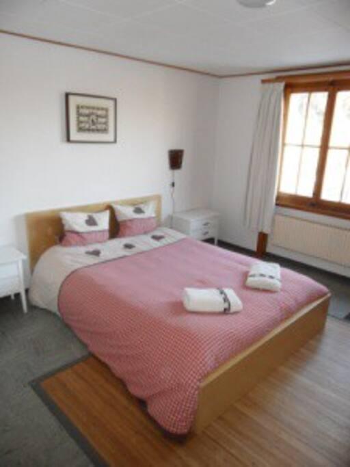 lit double, salle de bain privée, vue sur les préalpes
