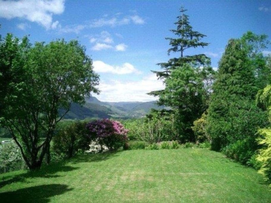 View from the end lawn of the Dyfi Vallery