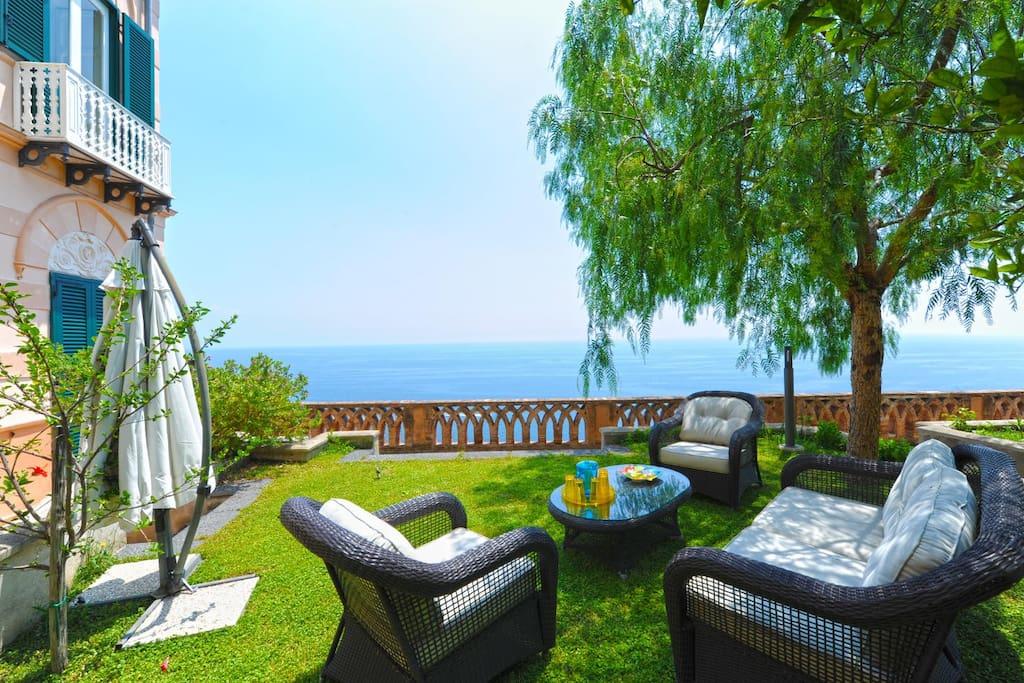 Garden and terrace overlooking the sea