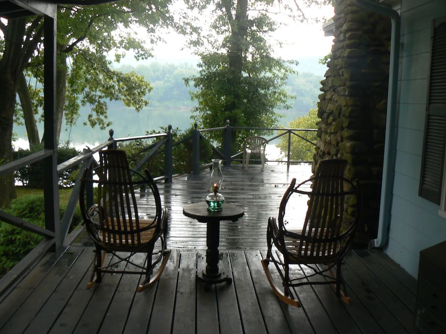 Sitting on the deck is nice even on a rainy afternoon.