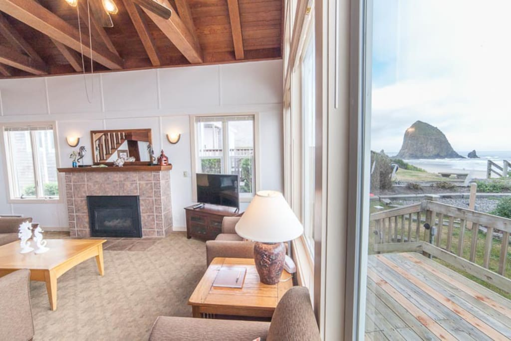 Views of Haystack Rock from inside and out