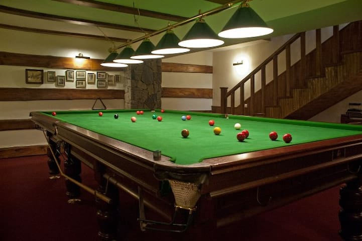 Snooker-room: not only the place to play, but also a small escape after too-much-family-time