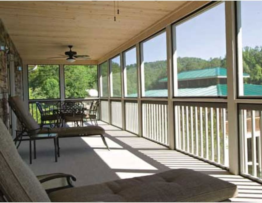 Porch overlooks lake