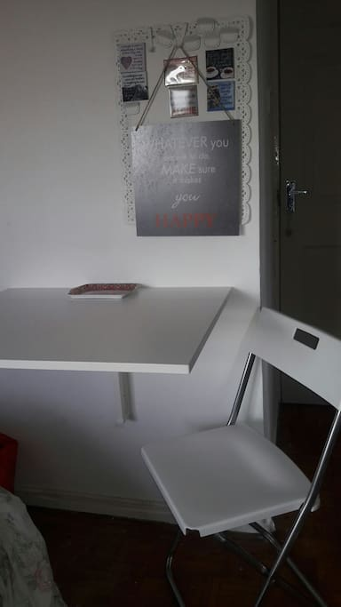 use of folded wall table