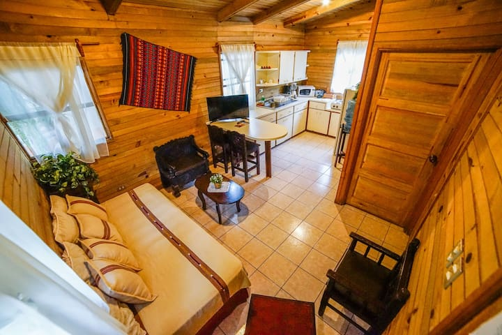 Sala con sofa-cama, comedor y cocina completamente equipada