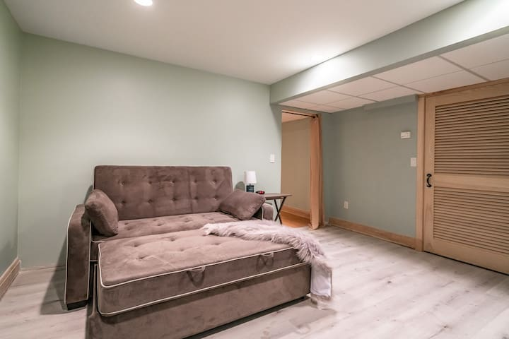 Lower level room with queen sleeper sofa